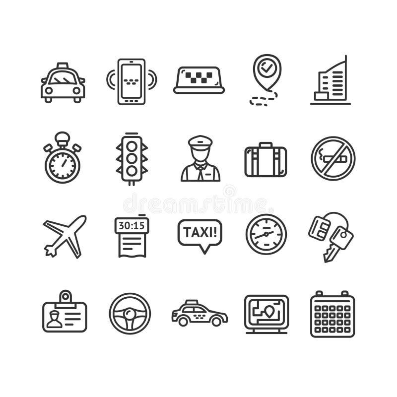 Línea fina sistema del icono de los servicios del taxi Vector libre illustration