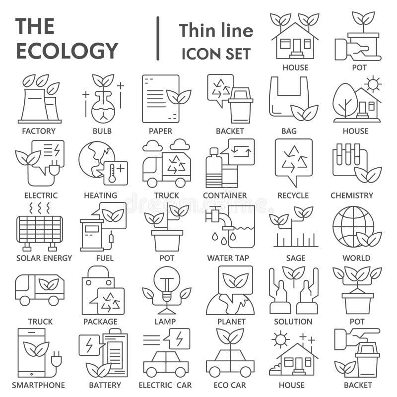 Línea fina sistema del icono, símbolos colección, bosquejos del vector, ejemplos del logotipo, muestras de la ecología del ambien ilustración del vector