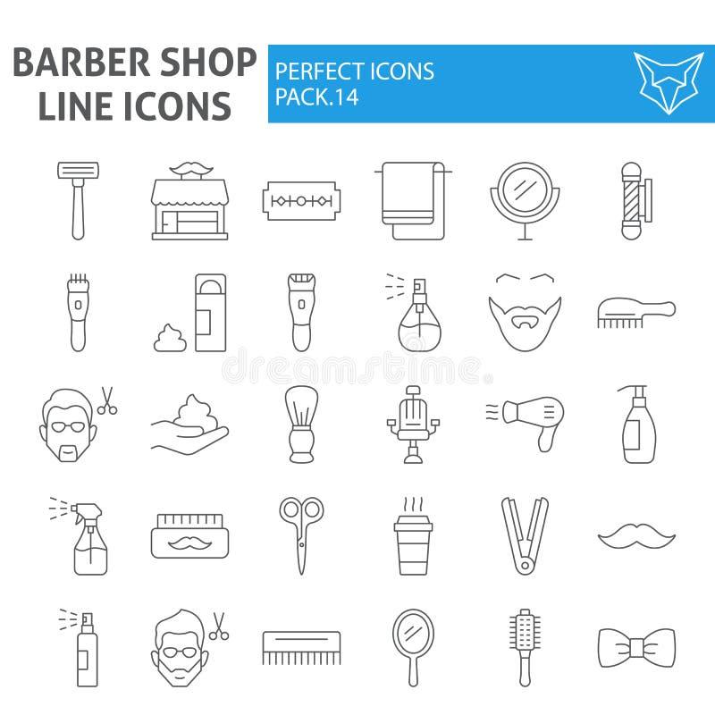 Línea fina sistema del icono, símbolos colección, bosquejos del vector, ejemplos del logotipo, muestras de la peluquería de cabal stock de ilustración
