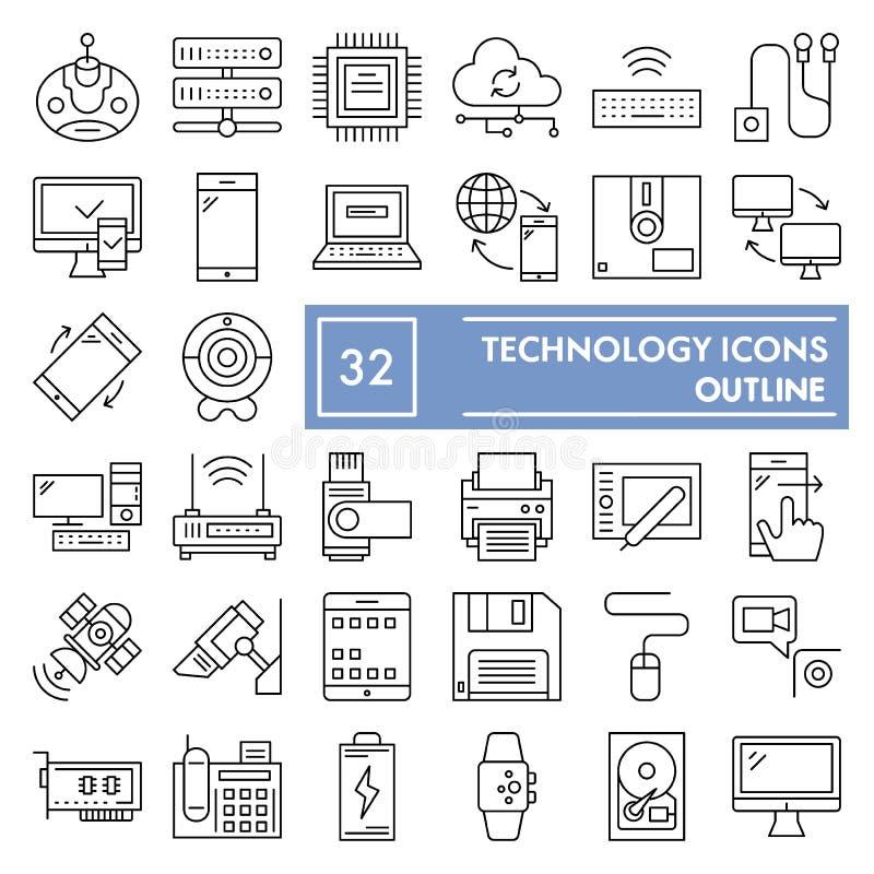 Línea fina sistema del icono, símbolos colección, bosquejos del vector, ejemplos del logotipo, muestras de la tecnología del disp ilustración del vector