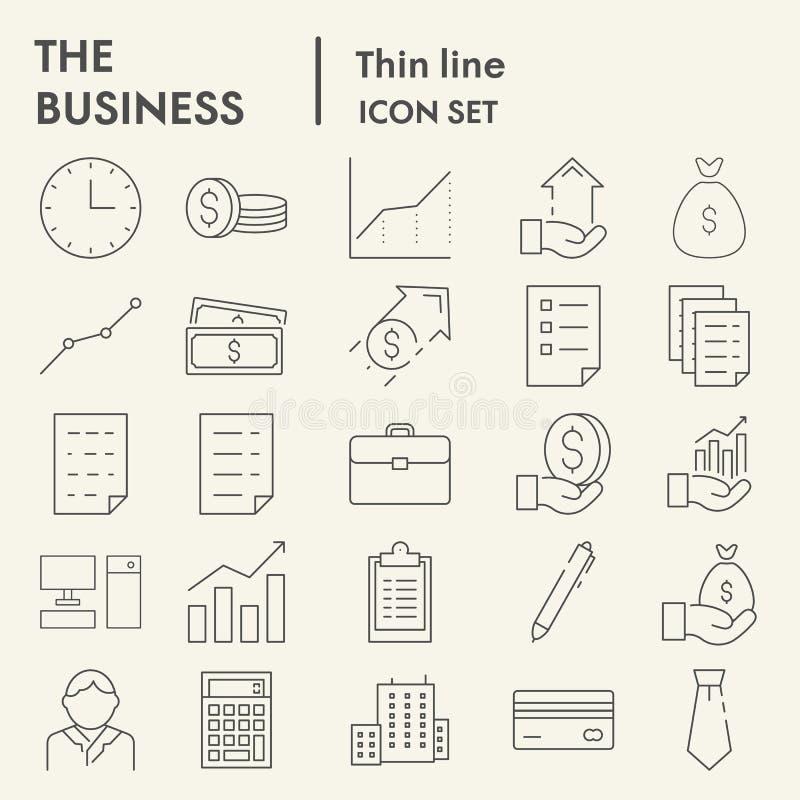 Línea fina sistema del icono, símbolos colección, bosquejos del vector, ejemplos del logotipo, muestras de manejo del negocio de  ilustración del vector