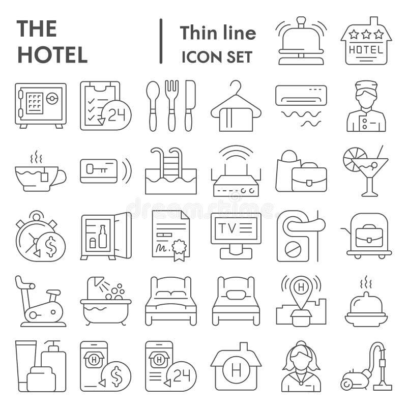 Línea fina sistema del icono, símbolos colección, bosquejos del vector, ejemplos del logotipo, muestras del hotel del servicio de stock de ilustración