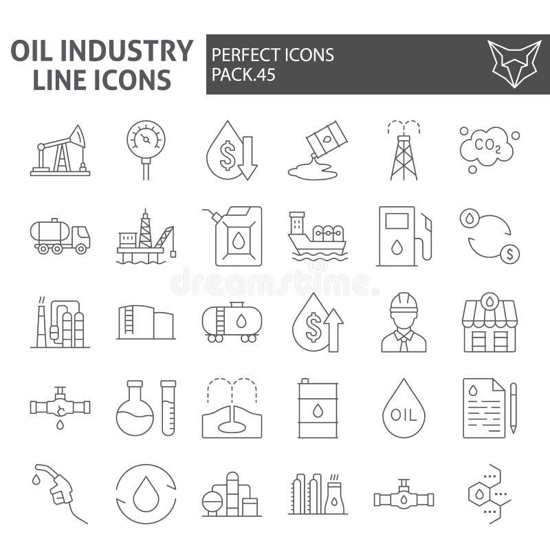 Línea fina sistema del icono, símbolos colección, bosquejos del vector, ejemplos del logotipo, naturaleza de la industria de petr ilustración del vector