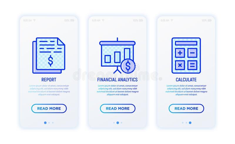 Línea fina sistema del informe financiero de los iconos ilustración del vector