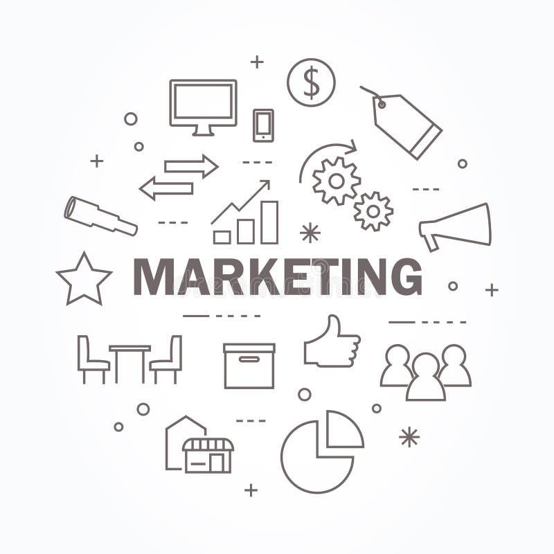 Línea fina sistema del márketing del icono Ilustraci?n del vector ilustración del vector
