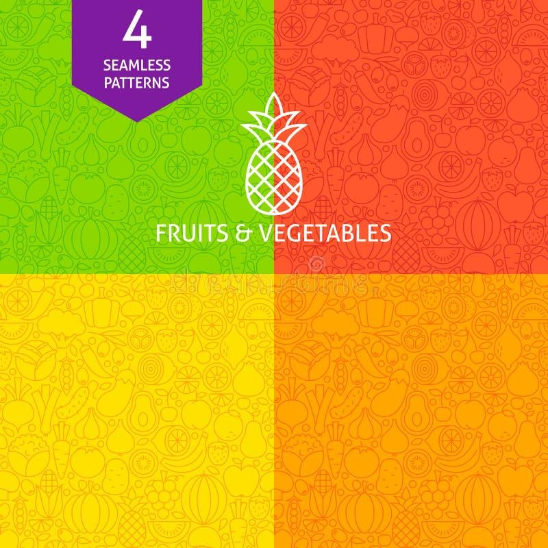 Línea fina sistema del modelo de la legumbre de fruta stock de ilustración