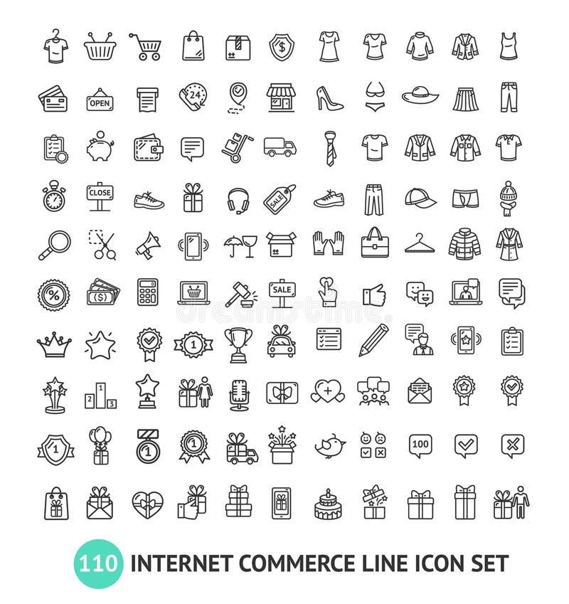 Línea fina sistema del negro de las muestras de las compras del comercio electrónico del icono Vector stock de ilustración
