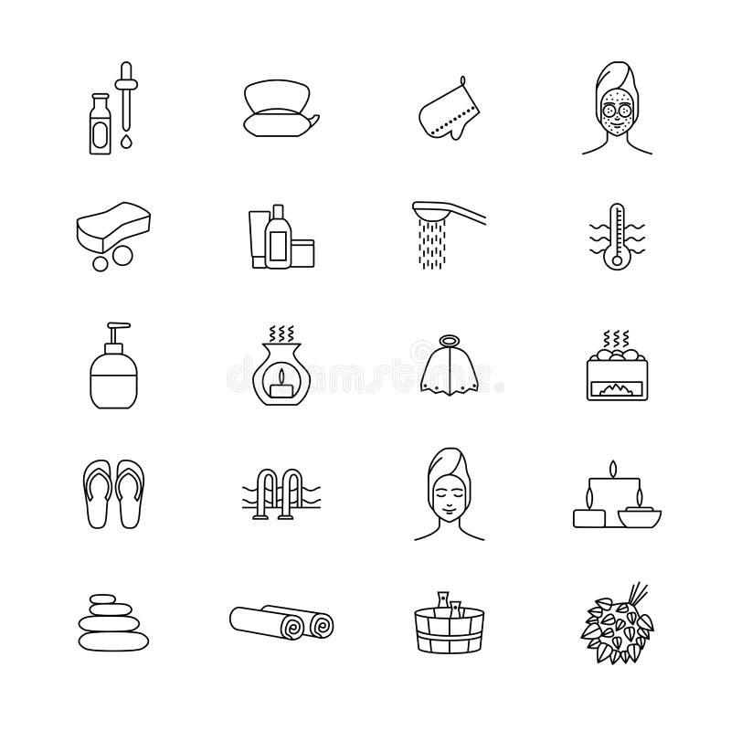 Línea fina sistema del negro de las muestras de la sauna del icono Vector libre illustration