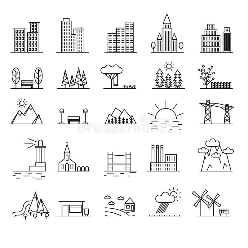Línea fina sistema del paisaje del negro urbano de los elementos del icono Vector stock de ilustración