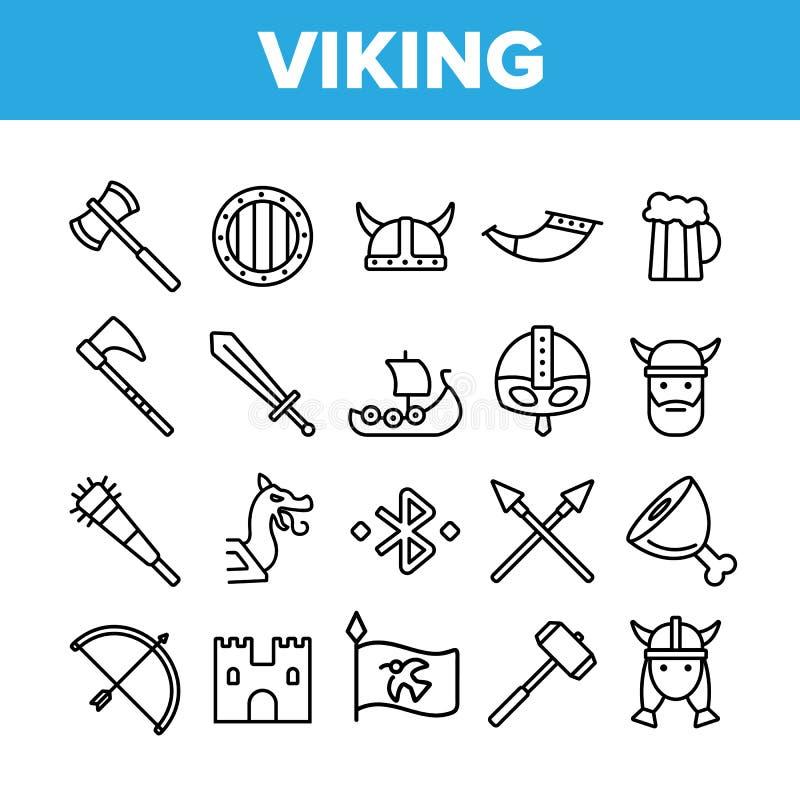 Línea fina sistema del vector activo del resto de la vida de Vikingos de los iconos ilustración del vector