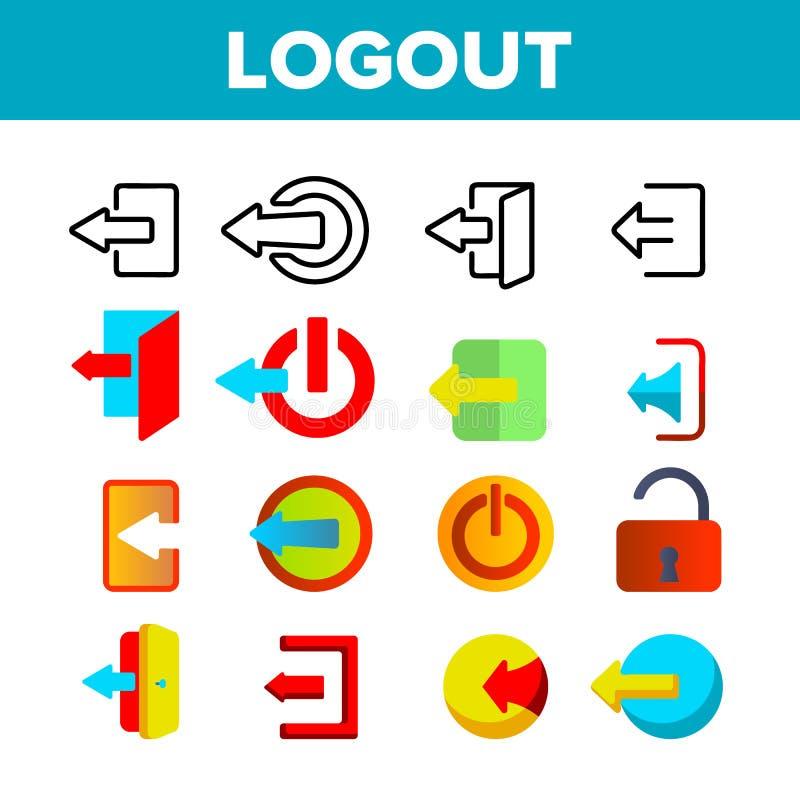 Línea fina sistema del vector del botón de la salida del sistema de los iconos libre illustration