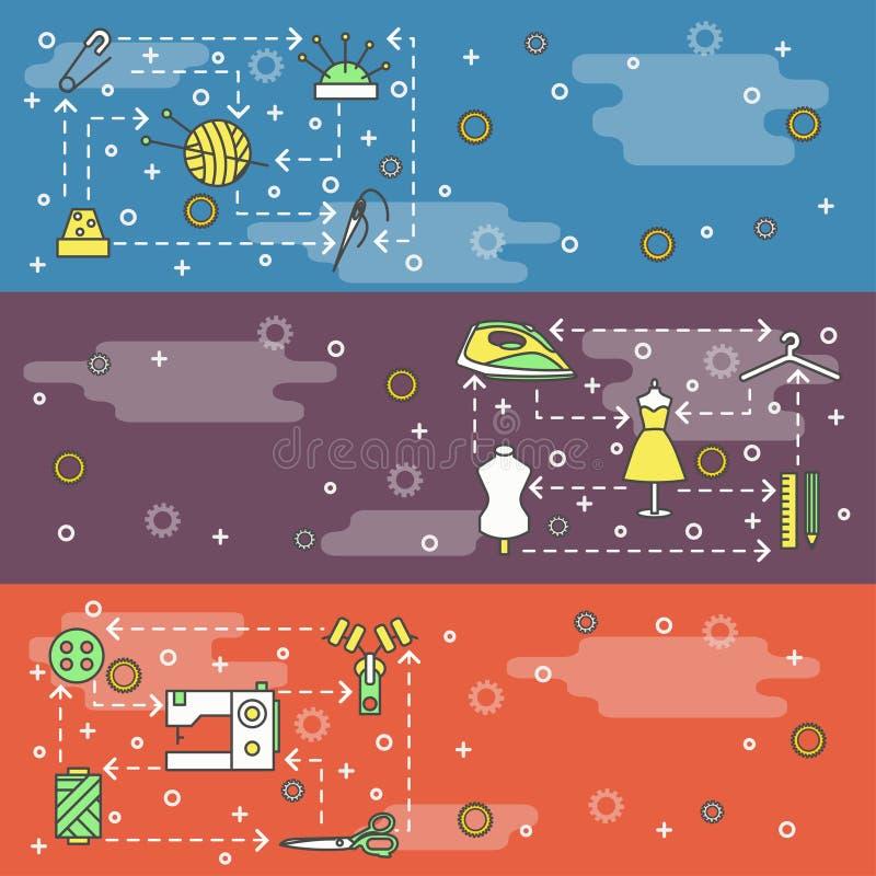 Línea fina sistema del vector de la plantilla de la bandera del web de la adaptación del arte ilustración del vector