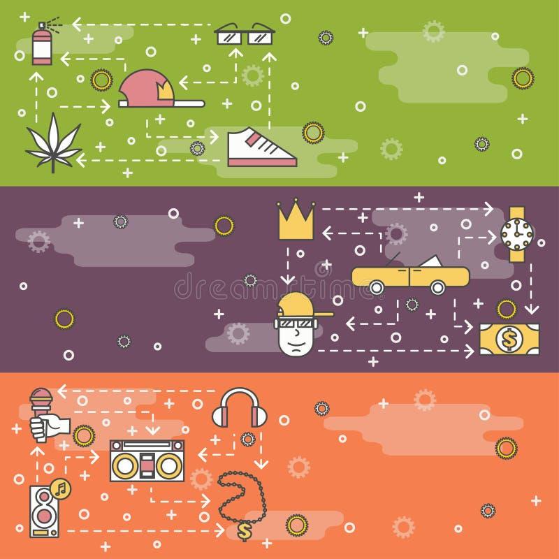 Línea fina sistema del vector de la plantilla de la bandera de la web del música rap del arte ilustración del vector