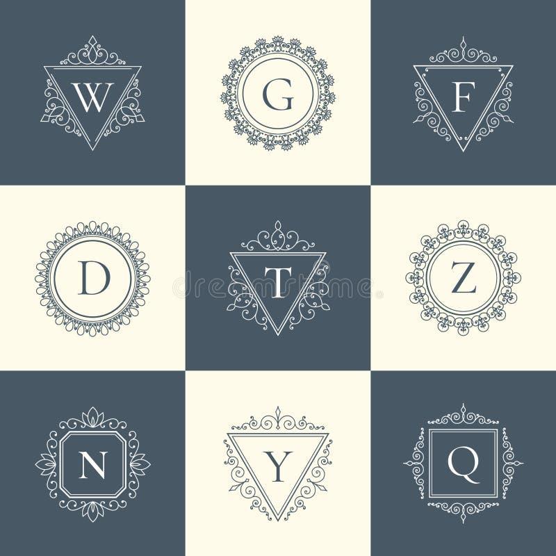 Línea fina sistema del vintage de lujo del logotipo del pictograma del concepto ilustración del vector