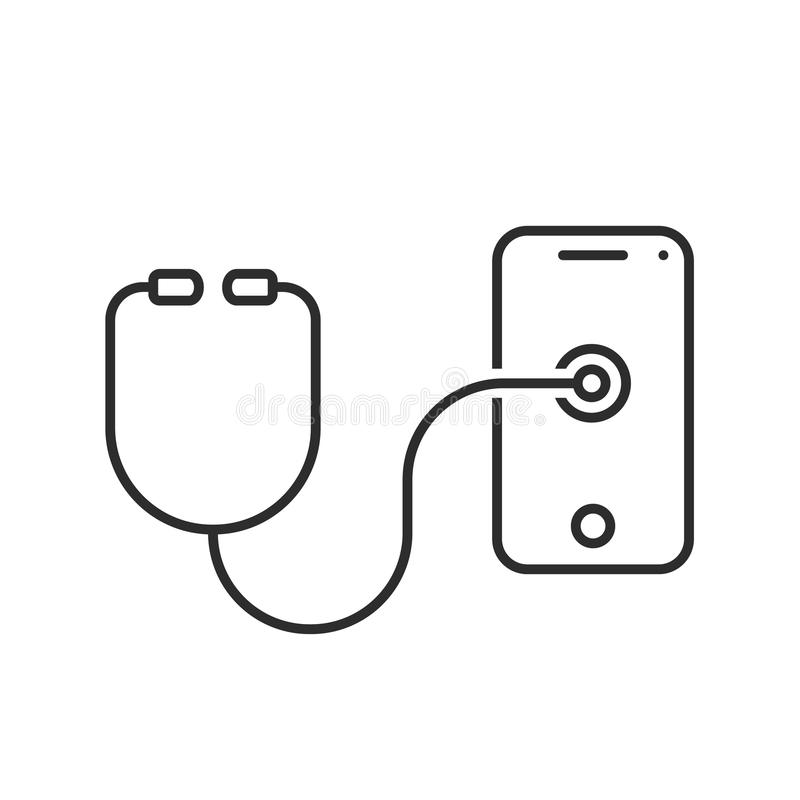 Línea fina teléfono de la prueba del estetoscopio libre illustration
