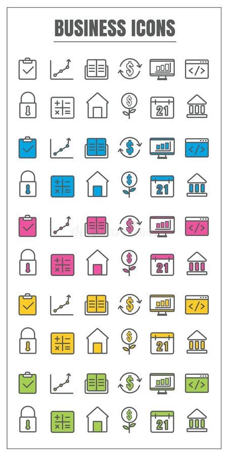 Línea fina vect rosado azul del negocio de los iconos del verde amarillo del negro del color stock de ilustración