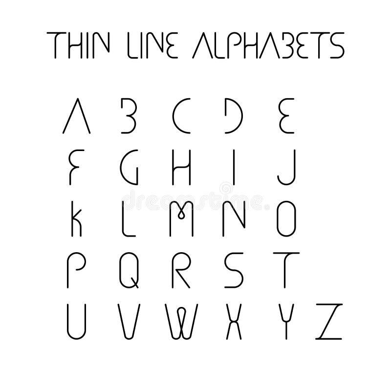 Línea fina y los alfabetos ingleses o las letras estrechos - vector los iconos stock de ilustración