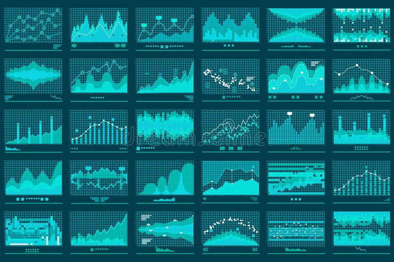 Línea financiera bandera del vector del negocio de los gráficos stock de ilustración