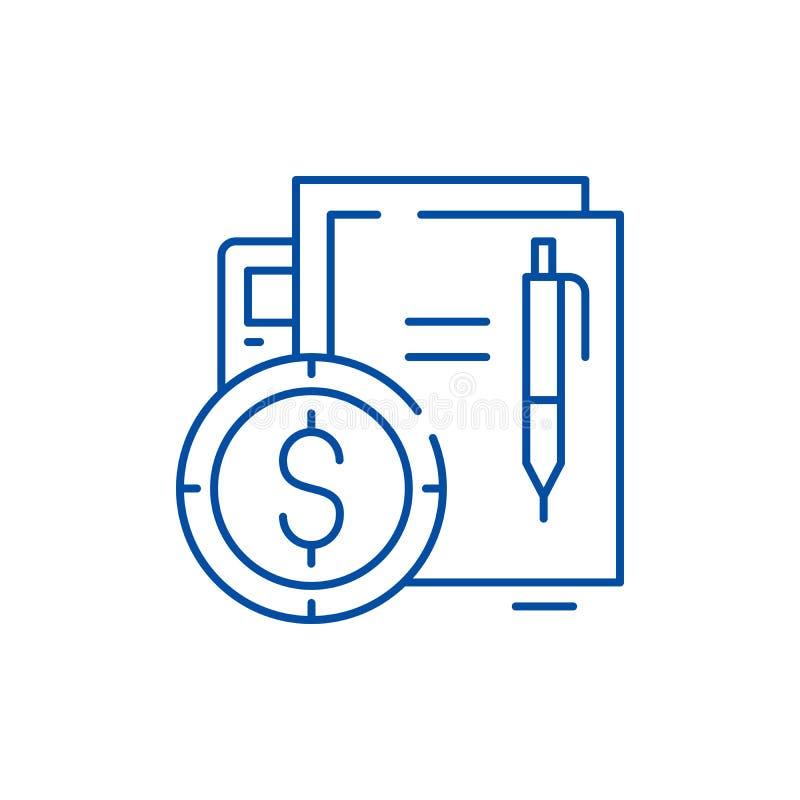 Línea financiera concepto del contrato del icono Símbolo plano del vector del contrato financiero, muestra, ejemplo del esquema stock de ilustración