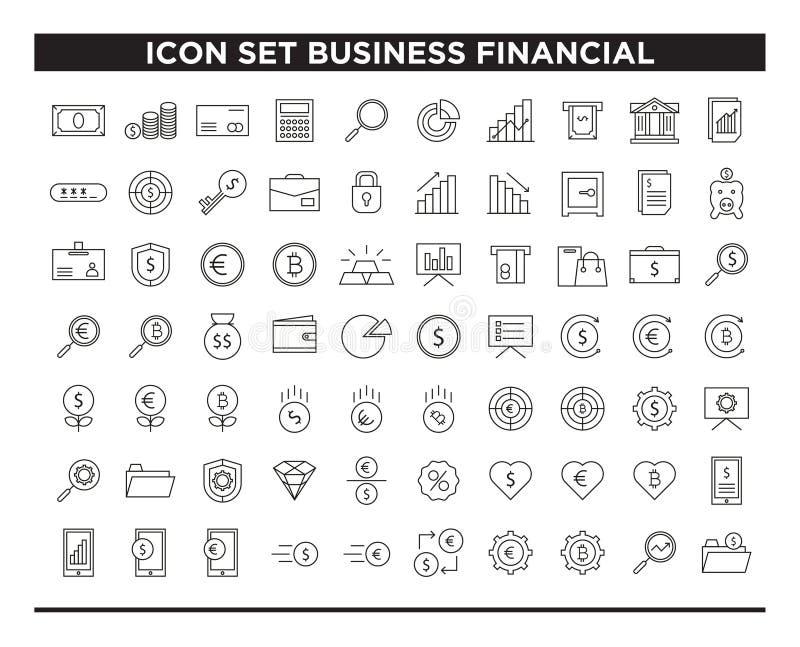 Línea financiera estilo del negocio del sistema del icono ilustración del vector