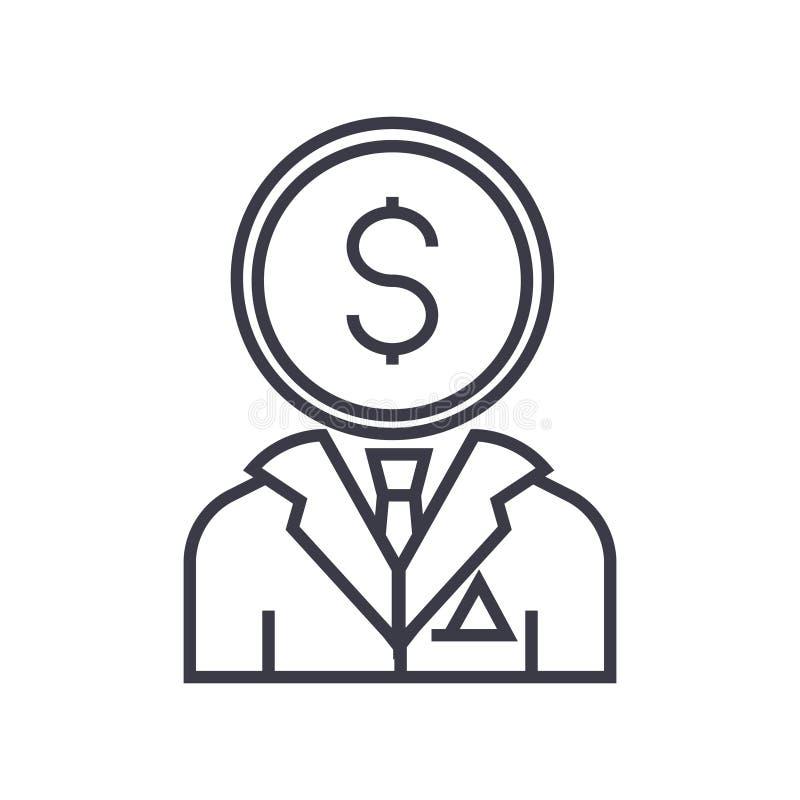 Línea financiera icono, muestra, símbolo, vector del consultor en fondo aislado stock de ilustración