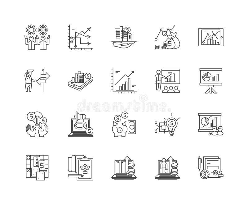 Línea financiera iconos, muestras, sistema del vector, concepto de la estrategia del ejemplo del esquema stock de ilustración