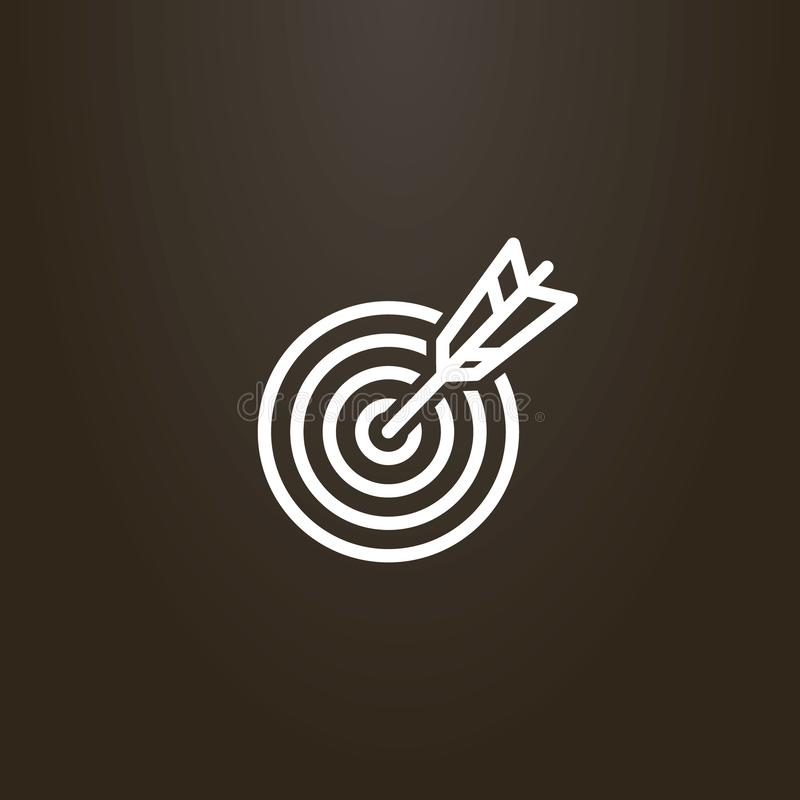 Línea flecha de la muestra del arte que golpea en el centro de la blanco libre illustration
