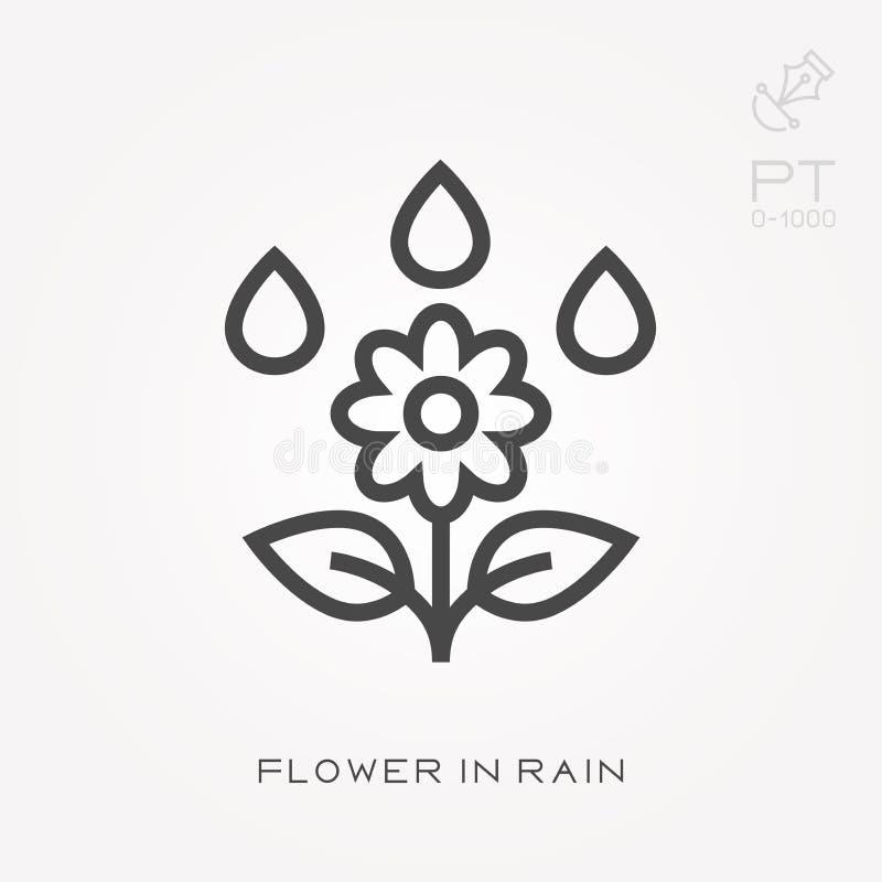 Línea flor del icono en lluvia stock de ilustración