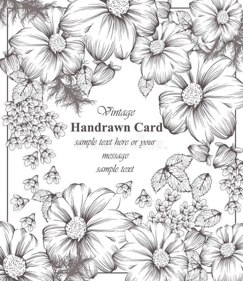 Línea floral arte de la tarjeta del vintage Fondo hermoso estilo del gráfico del dibujo de la mano libre illustration