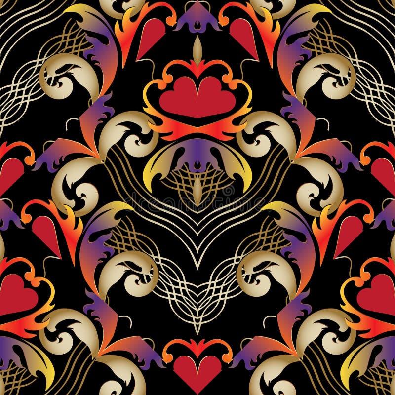 Línea floral rayada barroca modelo inconsútil del tracery del arte Vintag stock de ilustración