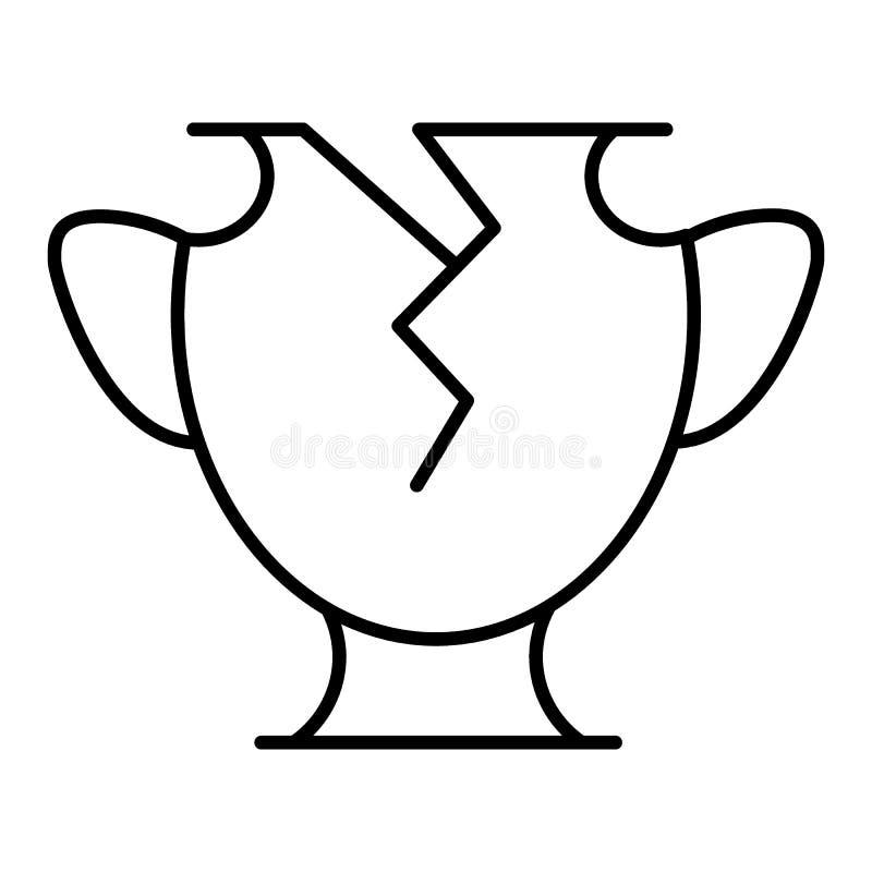 Línea florero roto icono Icono del vector aislado en blanco Diseño del plano y del esquema EPS 10 libre illustration