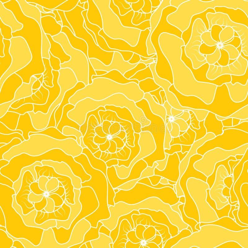 Línea flujo del amarillo del estampado de plores libre illustration