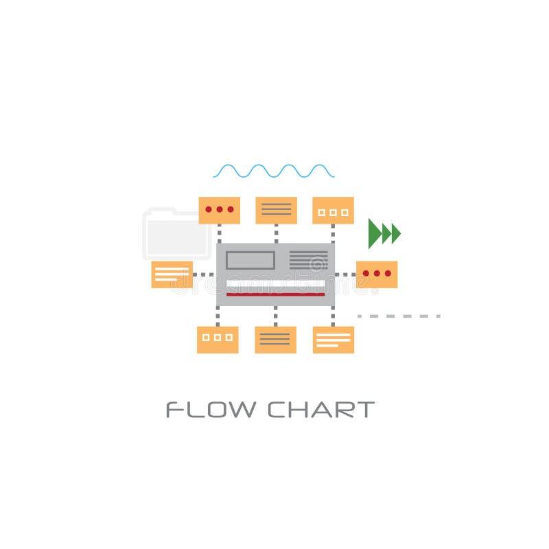 Línea fondo blanco del concepto de la carta del flujo de datos de la organización de Infographic del estilo ilustración del vector
