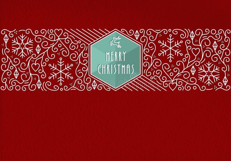 Línea fondo de la Feliz Navidad de la tarjeta de felicitación del vintage ilustración del vector