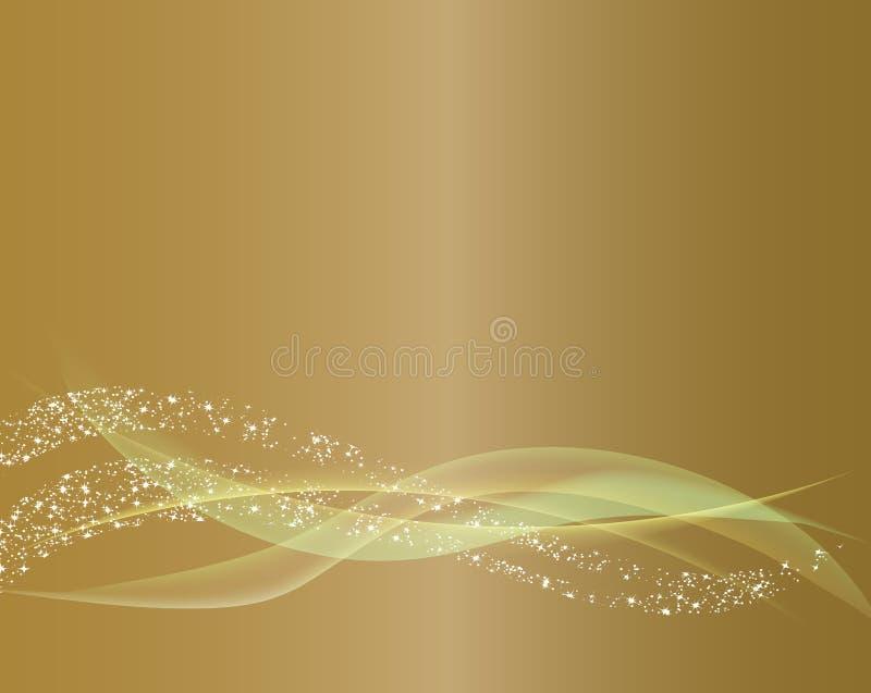 Línea fondo de la onda del extracto del oro ilustración del vector