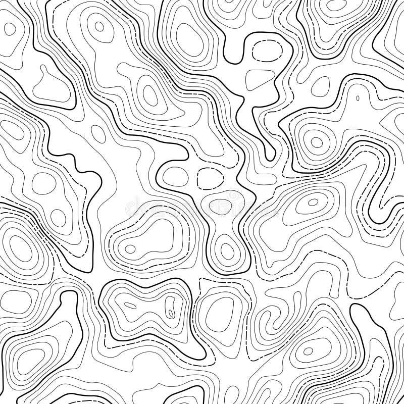 Línea fondo topográfico del mapa de contorno inconsútil stock de ilustración