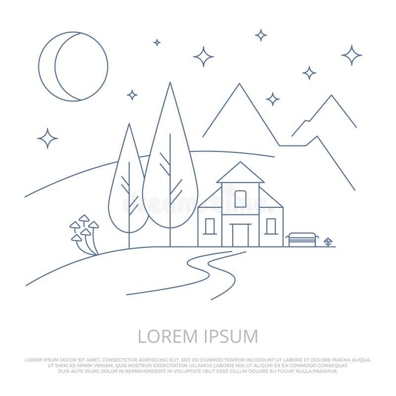 Línea fondo - vector del campo de las montañas del verano del esquema del paisaje del bosque stock de ilustración