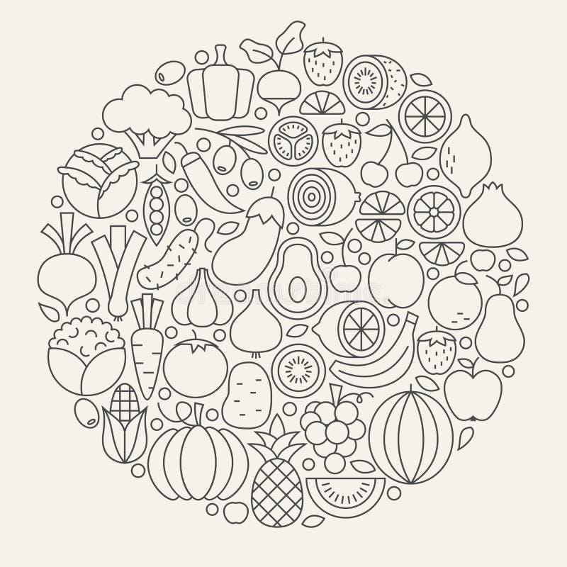 Línea forma determinada de la legumbre de fruta del círculo del icono stock de ilustración