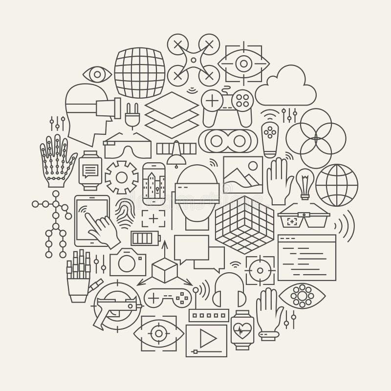 Línea forma fijada iconos de la realidad virtual del círculo stock de ilustración