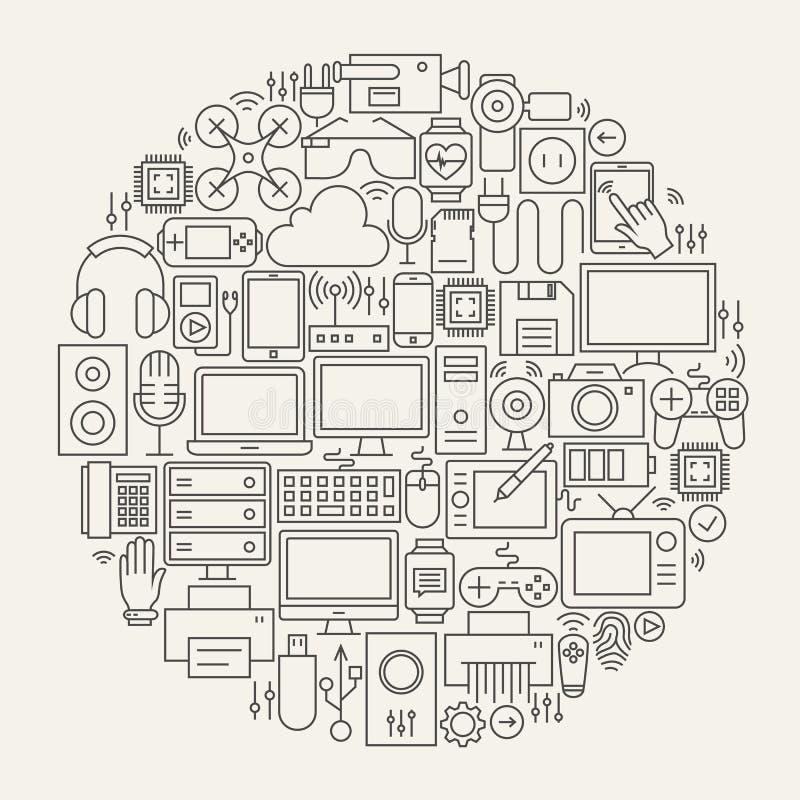 Línea forma fijada iconos de los artilugios y de los dispositivos del círculo libre illustration