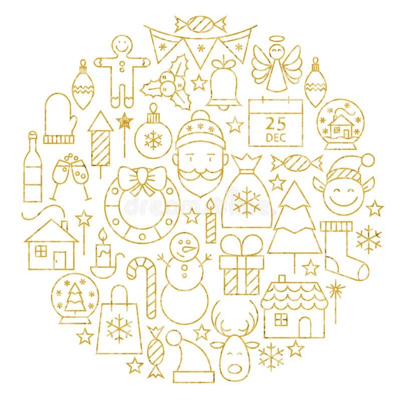 Línea forma fijada iconos del día de fiesta de la Feliz Navidad del oro del círculo libre illustration
