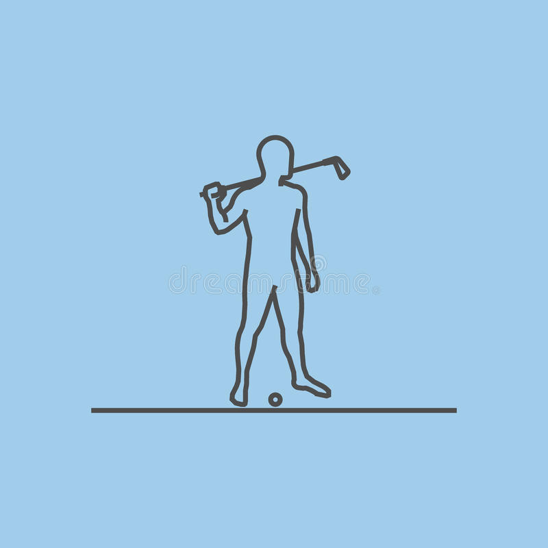 Línea fresca icono del golf stock de ilustración