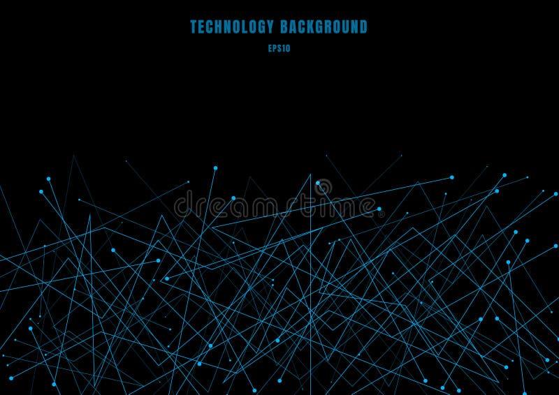 Línea futurista abstracta partículas cibernéticas de la estructura de la molécula del color azul en fondo negro Puntos y líneas d libre illustration