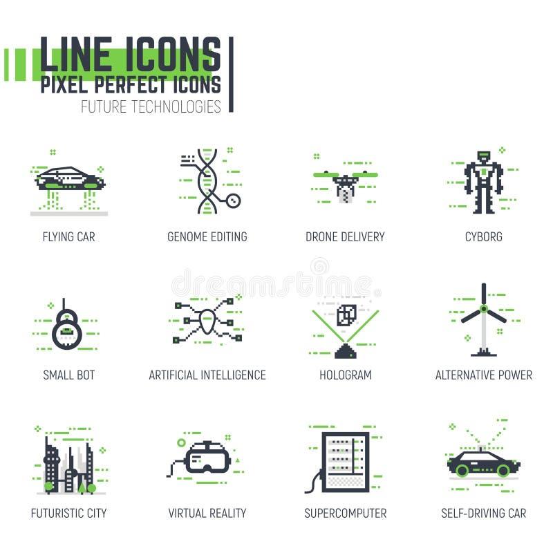 Línea futurista iconos de la tecnología ilustración del vector