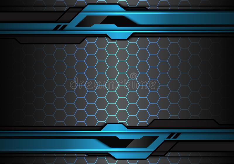 Línea futurista metálica abstracta del polígono del negro azul en vector moderno del fondo de la tecnología del diseño del modelo stock de ilustración