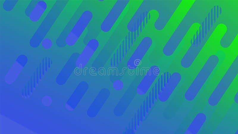 Línea geométrica abstracta fondo del modelo para el diseño de la cubierta del folleto del negocio Cartel azul y verde de la bande ilustración del vector