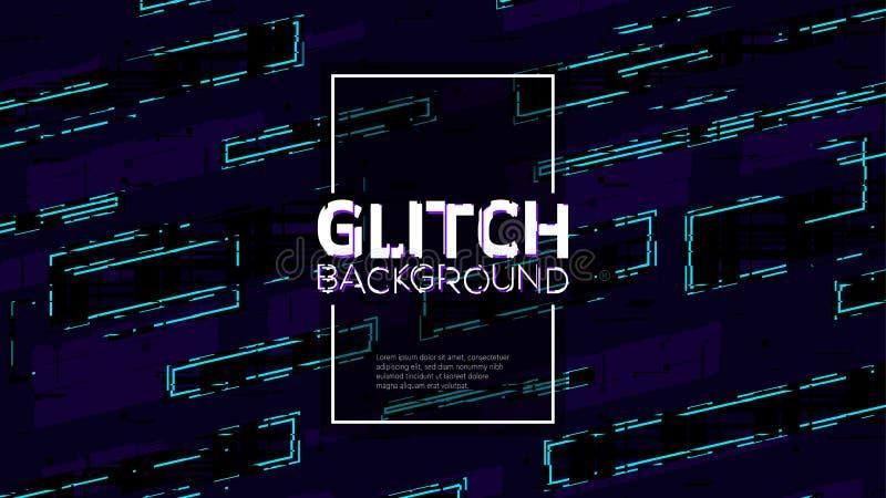 Línea geométrica glitched de moda ejemplo del estilo Modelo digital abstracto de la interferencia con efecto de la distorsión libre illustration