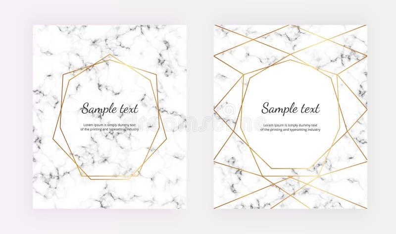 Línea geométrica marco del oro en la textura de mármol Cartel minimalista, marco del oro La plantilla para la invitación del dise ilustración del vector