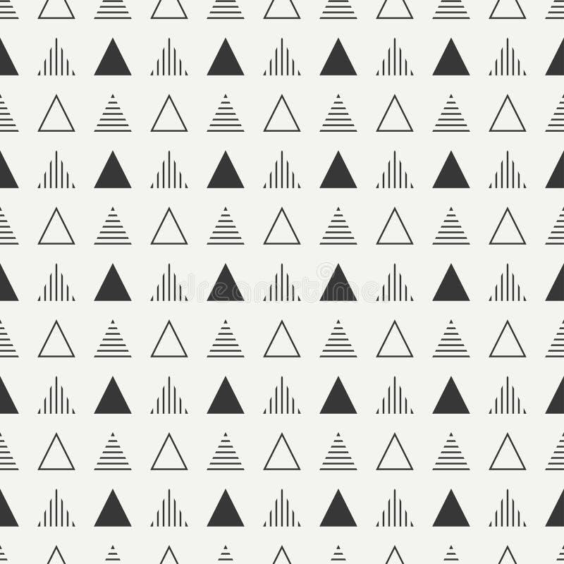 Línea geométrica modelo inconsútil del inconformista abstracto monocromático con el triángulo Papel de embalaje scrapbook impresi libre illustration