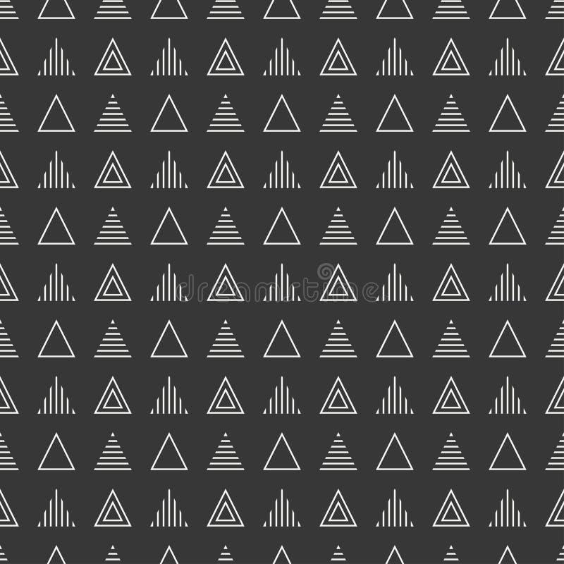 Línea geométrica modelo inconsútil del inconformista abstracto monocromático con el triángulo Papel de embalaje scrapbook impresi ilustración del vector